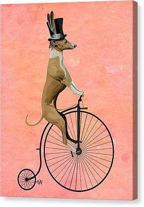 Greyhound Pennyfarthing Black Canvas Print by Kelly McLaughlan