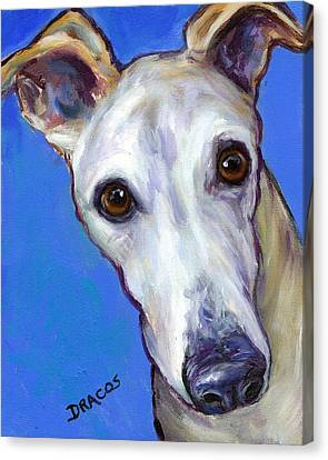 Greyhound Portrait On Blue Canvas Print by Dottie Dracos