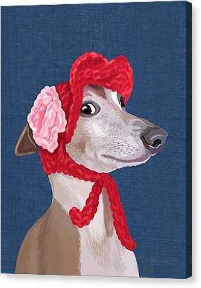 Greyhound Red Knitted Hat Canvas Print by Kelly McLaughlan
