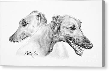 Greyhounds For Two Canvas Print by Roy Anthony Kaelin