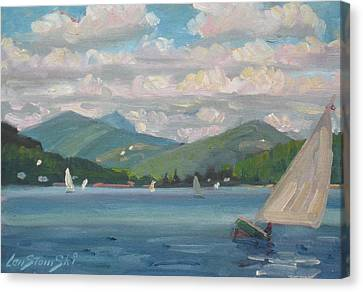 Greylock From Pontoosuc Lake Canvas Print by Len Stomski
