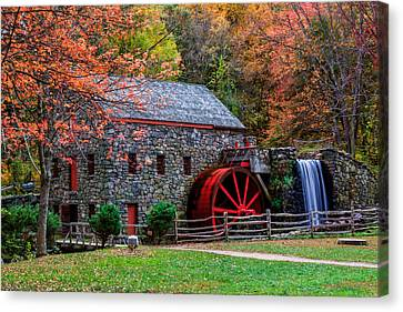 Grist Mill In Autumn Canvas Print by Laura Duhaime