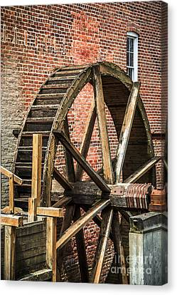 Grist Mill Water Wheel In Hobart Indiana Canvas Print by Paul Velgos