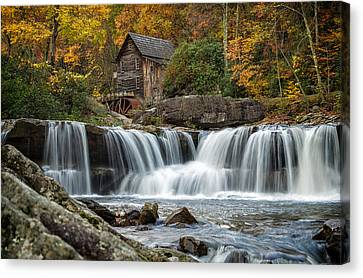 Grist Mill With Vibrant Fall Colors Canvas Print by Lori Coleman
