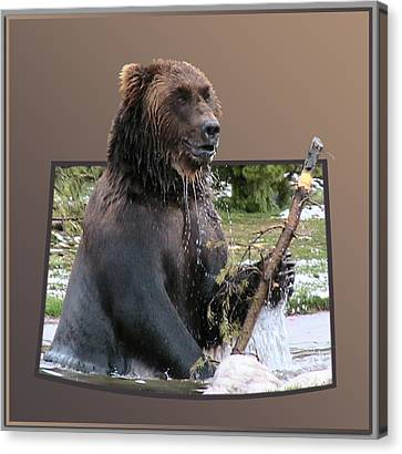 Grizzly Bear 6 Out Of Bounds Canvas Print by Thomas Woolworth