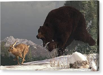 Grizzly Bear Chasing Rabbit Canvas Print by Daniel Eskridge