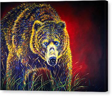 Grizzly Gaze Canvas Print by Teshia Art