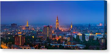 Groningen Town During Blue Hour Canvas Print by Henk Meijer Photography