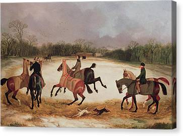 Grooms Exercising Racehorses  Canvas Print by David of York Dalby