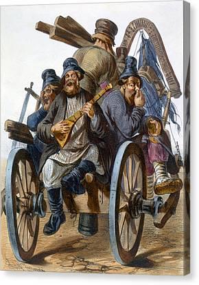 Group Of Drunken Peasant Men Singing Canvas Print by Rudolf Jukowsky