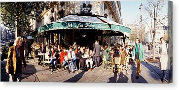 Group Of People At A Sidewalk Cafe, Les Canvas Print by Panoramic Images