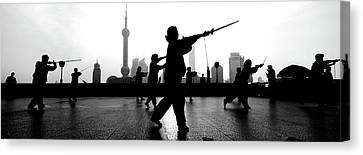 Group Of People Practicing Tai Chi Canvas Print by Panoramic Images