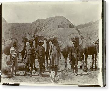 Group Posed With Camels Canvas Print by British Library
