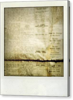 Grunge Newspaper Canvas Print by Les Cunliffe