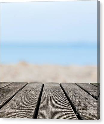 Grunge Rustic Real Wood Boards On The Beach Shore Canvas Print by Michal Bednarek