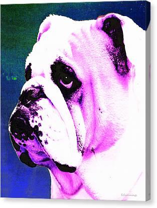 Grunt - Bulldog Pop Art By Sharon Cummings Canvas Print by Sharon Cummings