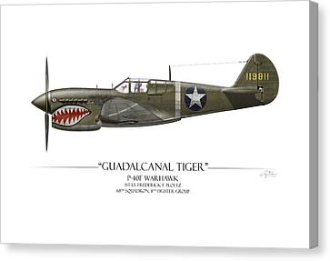 Guadalcanal Tiger P-40 Warhawk - White Background Canvas Print by Craig Tinder