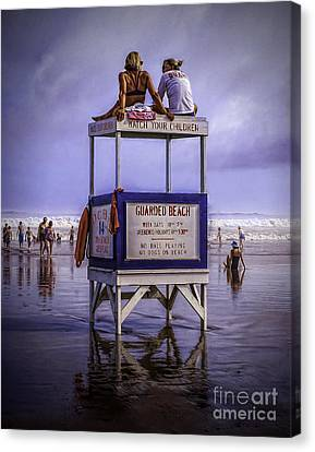 Guarding The Beach Canvas Print by Nick Zelinsky