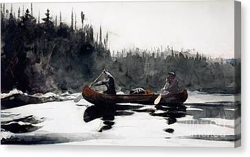 Guides Shooting Rapids Canvas Print by Winslow Homer