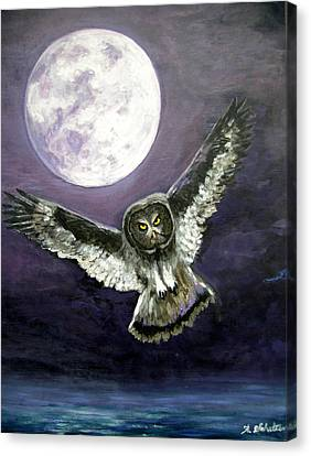 Great Grey Owl Of The Guiding Light Canvas Print by Amy Scholten