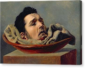 Guillotined Head Canvas Print by Francois Gabriel de Becdelievre