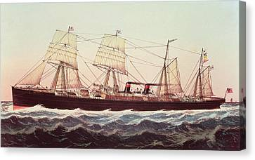 Guion Line Steampship Arizona Of The Greyhound Fleet Canvas Print by Currier and Ives