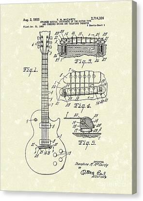Guitar 1955 Patent Art Canvas Print by Prior Art Design