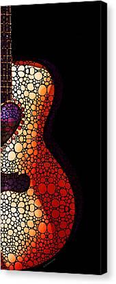 Guitar Art - She Waits Canvas Print by Sharon Cummings