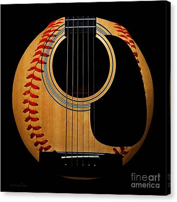 Guitar Baseball Square Canvas Print by Andee Design