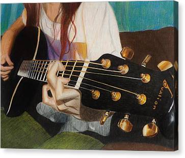 Guitar Drawing Canvas Print by Savanna Paine