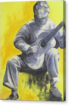 Guitar Man In Shades Of Grey Canvas Print by Susan Richardson