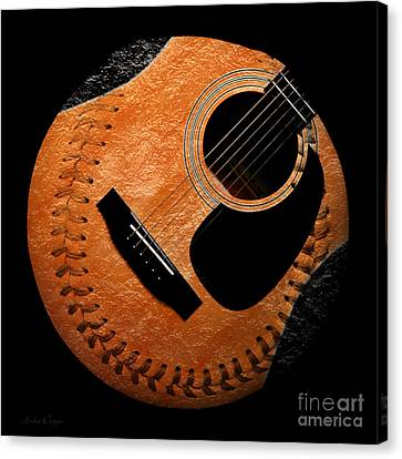 Guitar Orange Baseball Square Canvas Print by Andee Design