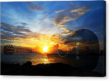 Guitar Sunset - Guitars By Sharon Cummings Canvas Print by Sharon Cummings