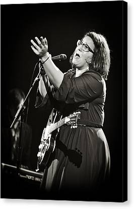 Guitarist Brittany Howard In Black And White 2 - Alabama Shakes Live In Concert Canvas Print by  Jennifer Rondinelli Reilly