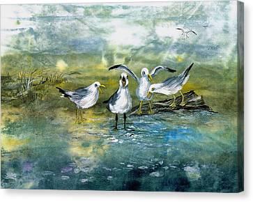 Gull Quartet Canvas Print by Nancy Gorr