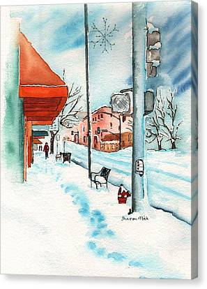 Gurley Street Prescott Arizona On A Cold Winters Day Western Town Canvas Print by Sharon Mick