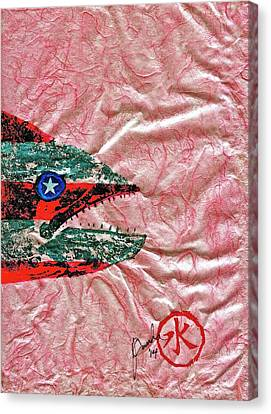Gyotaku- 4th July - Spanish Mackerel- Bubble Gum Pink Canvas Print by Jeffrey Canha