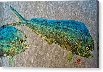 Gyotaku - Mahi Mahi - Dorado - Dolphinfish Canvas Print by Jeffrey Canha