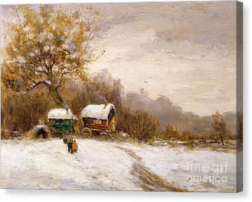 Gypsy Caravans In The Snow Canvas Print by Leila K Williamson