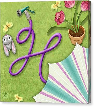 H Is For Garden Hose  Canvas Print by Valerie Drake Lesiak