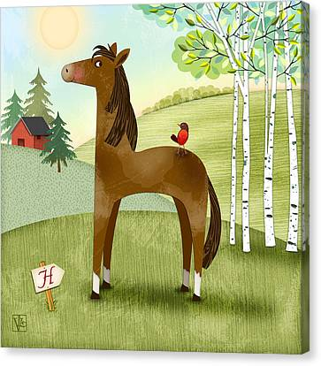 H Is For Henry The Horse Canvas Print by Valerie Drake Lesiak