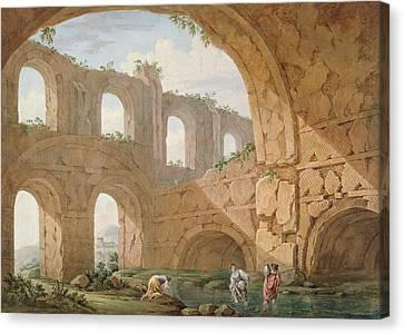 Hadrians Villa, Near Tivoli Canvas Print by Charles Louis Clerisseau