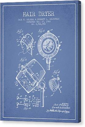 Hair Dryer Patent From 1960 - Light Blue Canvas Print by Aged Pixel