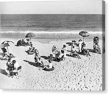 Hair Salon On The Beach Canvas Print by Underwood Archives
