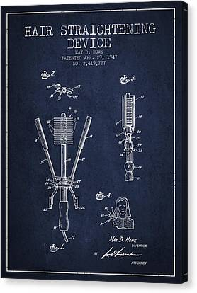 Hair Straightening Device Patent From 1947 - Navy Blue Canvas Print by Aged Pixel