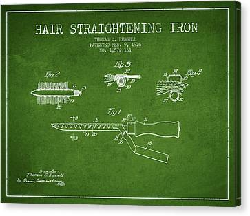 Hair Straightening Iron Patent From 1926 - Green Canvas Print by Aged Pixel