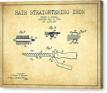 Hair Straightening Iron Patent From 1926 - Vintage Canvas Print by Aged Pixel