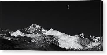 Half Moon Over Longs Peak Canvas Print by Darren  White