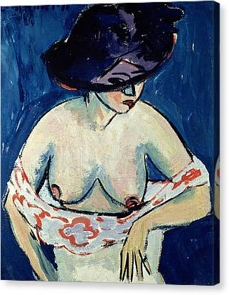 Half Naked Woman With A Hat Canvas Print by Ernst Ludwig Kirchner