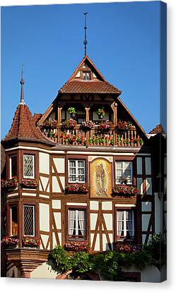 Half-timbered Building In Town Canvas Print by Brian Jannsen